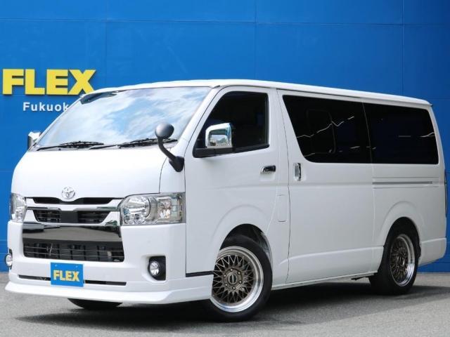 トヨタ スーパーGL ダークプライムII FLEXライトカスタムFLEX DelfinoLineフロントリップスポイラー FLEX アルティメットLEDテールランプESSEX ENCMー17インチAWグッドイヤーナスカータイヤ1.5インチ