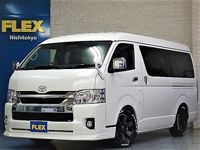 トヨタ GL ロング FLEXオリジナルVer5シートアレンジフルフラットシートオリジナルフロントスポイラーオーバーフェンダー2インチローダウン済み17インチアルミパイオニア製ナビフリップダウンモニターETC2.0装備