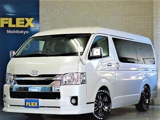 トヨタ ハイエースワゴン GL ロング FLEXオリジナルVer1シートアレンンジ施工済みオリジナルフロントスポイラーオーバーフェンダーLEDテール2インチローダウンパイオニア製ナビフリップダウンモニターETC2.0装備