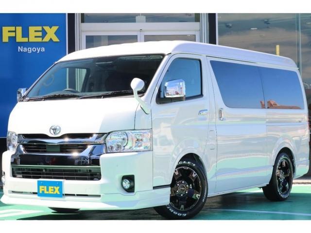 トヨタ ハイエースワゴン ロング GL/パーキングサポート/FLEX ORIGINAL SEAT Ver.1.5DENIM/2インチローダウン/FLEXオリジナルDELF0317AW/FLEXオリジナルフロントスポイラー/7型SDナビ