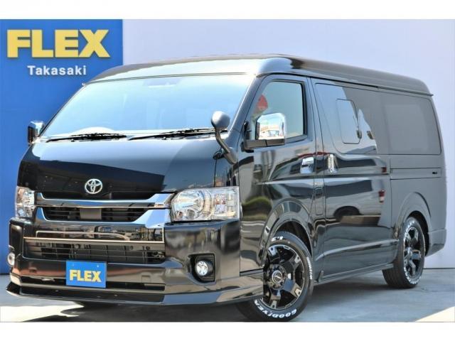 トヨタ スーパーGL ダークプライムII 6型 ガソリン 4WD フロントスポイラー オーバーフェンダー LEDテール 1.15インチローダウン 17インチAW SDナビ フリップダウンモニター ビルトインETC