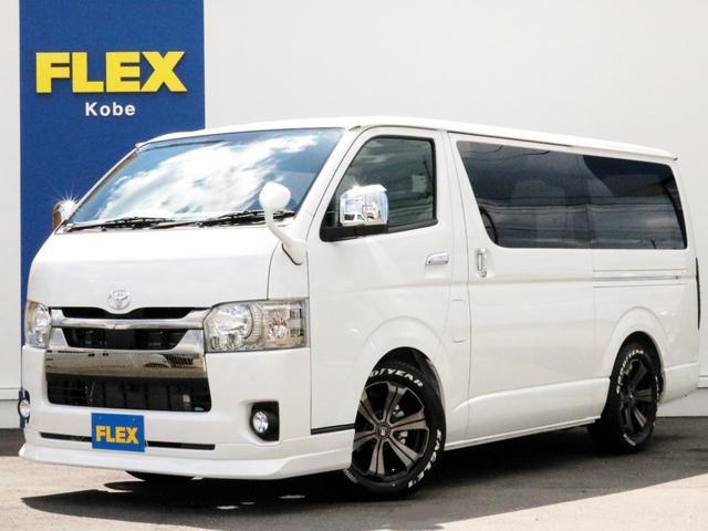 トヨタ スーパーGL ダークプライムII FLEXデルフィーノラインフロントリップ アーバングランデ17インチAW ホワイトレタータイヤ 同色ガッツミラー アルティメットLEDテール SDフルセグナビ ETC 両側パワースライドドア DPII