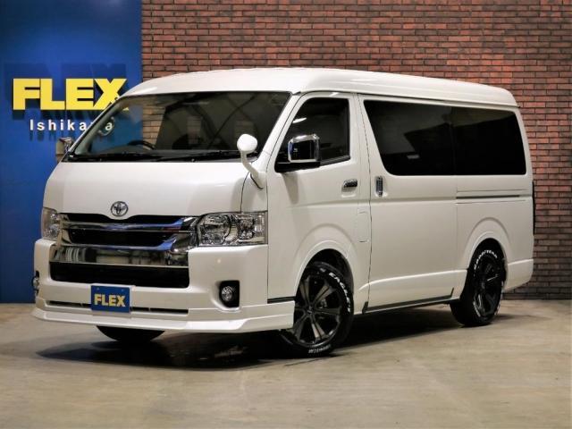 トヨタ ハイエースワゴン GL 内装架装Ver1.5 床張り施工 4WD SDナビTV 後席フリップダウンモニター 玄武1インチローダウンブロックKIT 3No 10人乗り