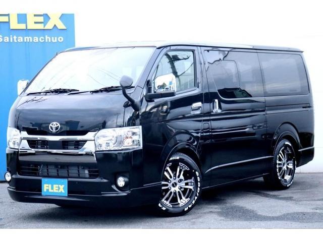 トヨタ スーパーGL ダークプライムII 新車/フルセグナビパッケージ 小窓付 415コブラフロントエアロ FLEXオーバーフェンダー プレステージLEDテール 1.5インチダウン DELF02 17インチAW グッドイヤーナスカータイヤ