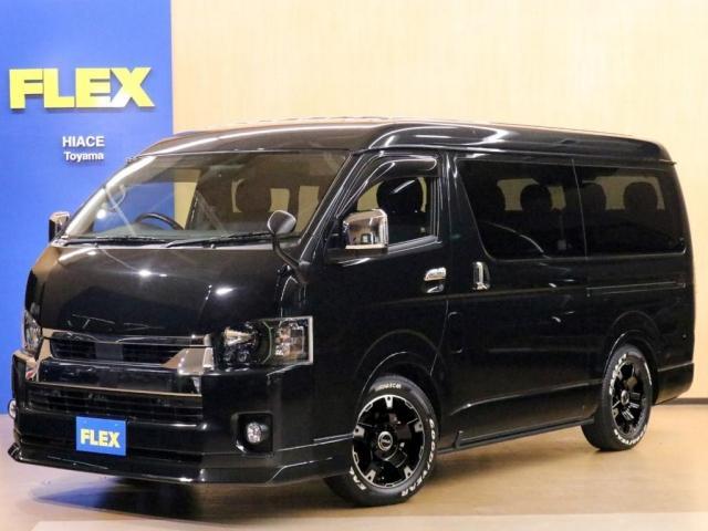 トヨタ ハイエースワゴン GL FLEX内装架装Ver1 富山店新試乗車/バッドフェイスボンネット/FLEXフロントリップ/1.5インチローダウン/FLEX17インチAW/ライノラック/オーニング/床張り施工/