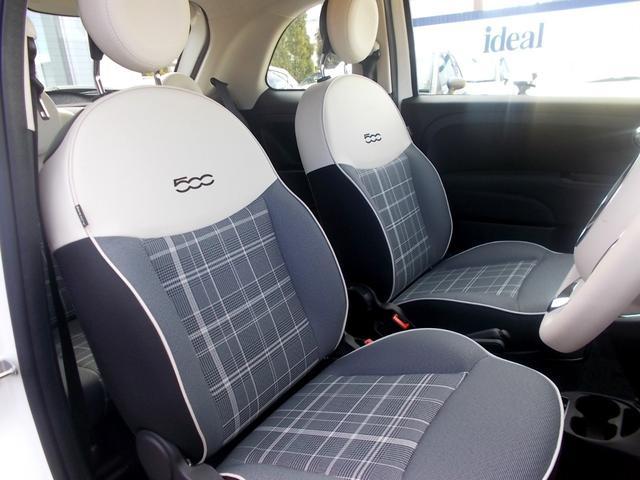 クッション性とサポート性に優れたフロントシート。長時間の運転も疲れにくく、FIAT500のデザイン感にも寄与しています。