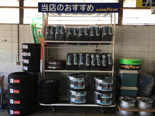 各種タイヤ在庫しております。お買いなタイヤもご用意しておりますので、お気軽にお立ち寄りください。