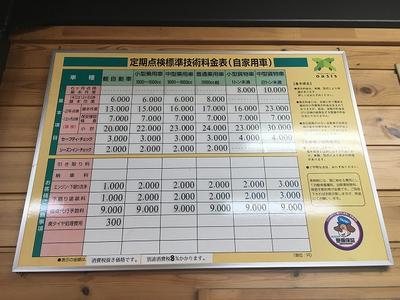 車検料金表。