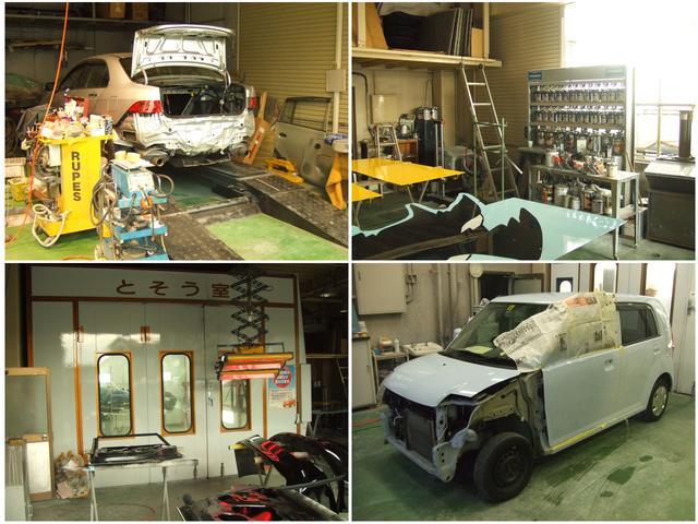 事故修理、板金塗装、切開板金、溶接、特殊塗装お任せ下さい!ディーラーからの指定工場頂いています