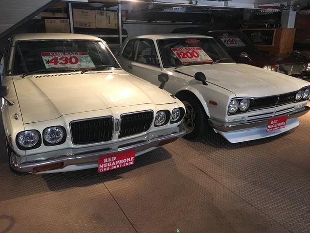 旧車,ハコスカ,ケンメリ,Z等。旧車専門店レッドメガフォンへ!人気のハコスカ,バイク多数!