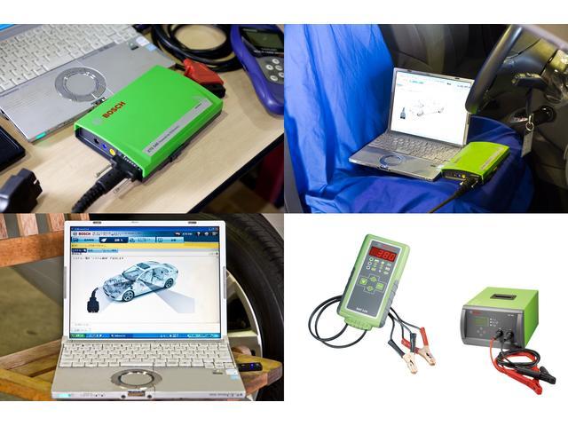 提携工場にはBOSCHテスターを完備。納車前点検では全車にコンピューター診断を実施しております。