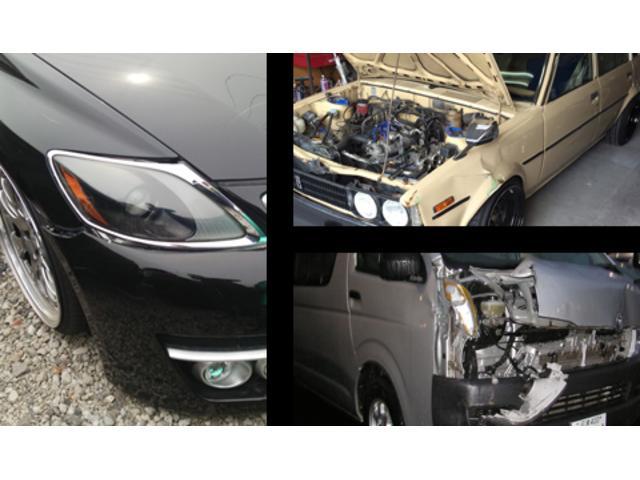 鈑金では、充実した設備とお客様の車の修理に対応する優れた技術を持っているところが強みです。