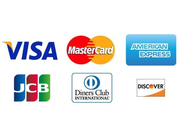 各種クレジットカードが使えます。所定の手数料が発生致します。